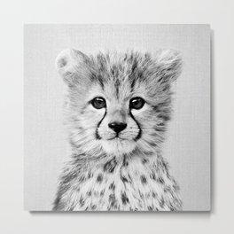 Baby Cheetah - Black & White Metal Print