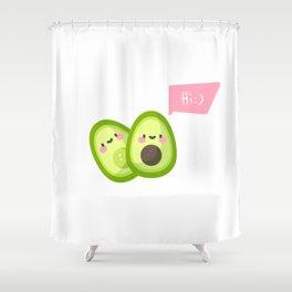 Сute 2 halves of avocado say hello Shower Curtain