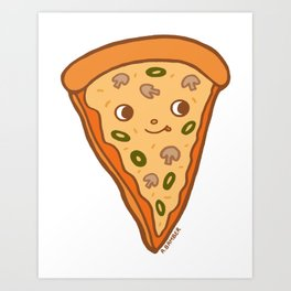 Veggie Pizza Slice - cute mushroom and olive vegetarian slice Art Print