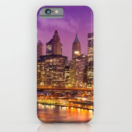 Awesome Brooklyn Bridge Magnificent Manhattan Skyline Citylights At Romantic Evening Red Ultra HD iPhone Case