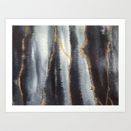 Indigo and gold abstract watercolor painting Art Print