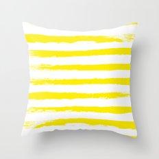 Sunny Yellow STRIPES Handpainted Brushstrokes Throw Pillow