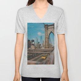 The Bridge in New York City (Color) Unisex V-Neck