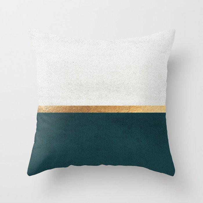 Deep Green, Gold and White Color Block Deko-Kissen