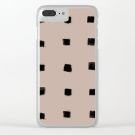Polka Strokes Gapped - Black on Nude Clear iPhone Case