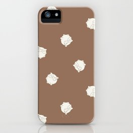 Round Bunny Pattern Cream Brown iPhone Case