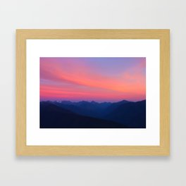 Olympic Mountain Sunset Framed Art Print