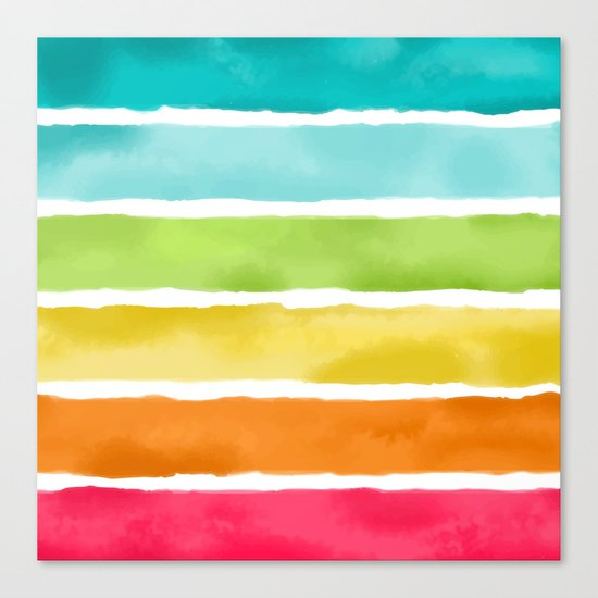 Watercolor Stripes Canvas Print