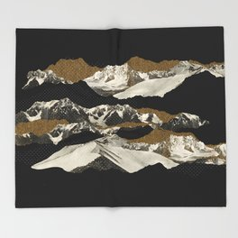 Golden Zugspitze / Black Throw Blanket