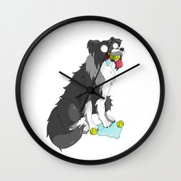 Borderline Collie Wall Clock