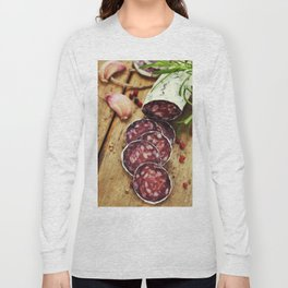 Close-up traditional sliced meat sausage salami on wooden board Long Sleeve T-shirt
