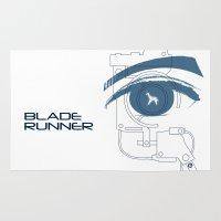 blade runner Area & Throw Rugs featuring BLADE RUNNER (White - Voight Kampf Test Version) by Alain Bossuyt
