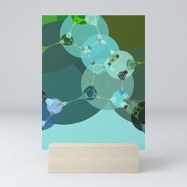 vanessa - abstract design of warm green and pale blue turquoise Mini Art Print