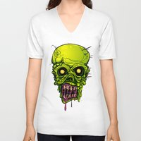 zombie V-neck T-shirts featuring Zombie by Lady Macabre Art