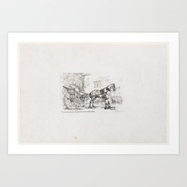 A Cabriolet with a Groom Parked Beside an Outhouse [A Gig], from A New Book of Horses and Carriages Art Print