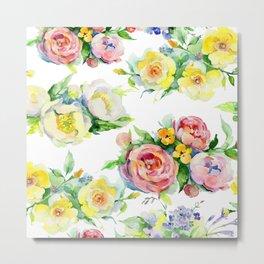 Pastel Pink & Gentle Yellow Floral Pattern on White Metal Print
