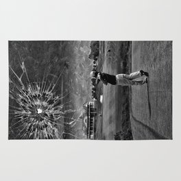 Broken Glass Sky - Black and White Version Rug
