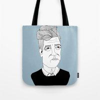 david lynch Tote Bags featuring David Lynch by Elena Éper