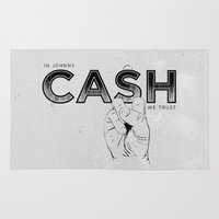 johnny cash Area & Throw Rugs featuring In Johnny Cash We Trust. by Matt Leyen