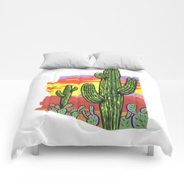 Arizona Saguaro Sunset Comforters