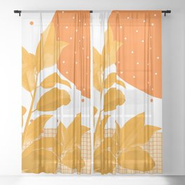Nature portrait on orange dots and grid Sheer Curtain