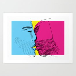 Primary kiss Art Print