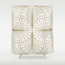 Diamond Series Inter Wave Gold on White Shower Curtain
