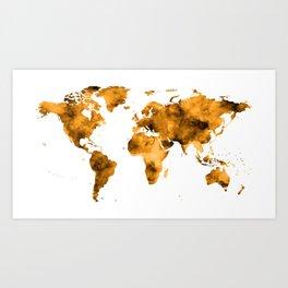 World Map Burnt Orange Brown Vintage Art Print
