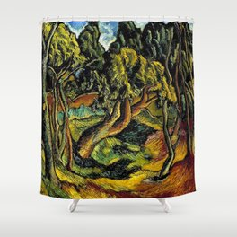 """African American Classical Masterpiece """"Burden of Racism in the 20th Century"""" by Hale Woodruff Shower Curtain"""