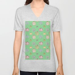 Pumpkin Pattern on Green Blackground Unisex V-Neck
