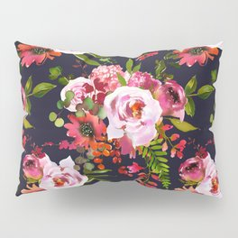 Hand painted black pink red watercolor roses floral Pillow Sham