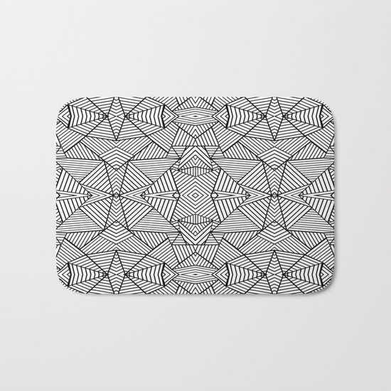 Abstract Mirror Black on White Bath Mat