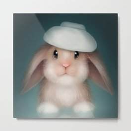 Rabbit with a Hat Metal Print