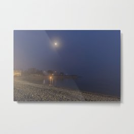 Moon cutting though the fog at Pavilion Beach in Gloucester Metal Print