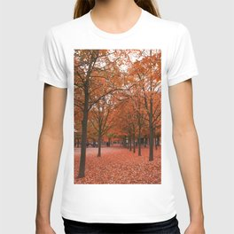 Red Trees During an Autumn Walk in the Jardin du Luxembourg in Paris T-shirt