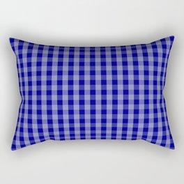 Navy Blue Gingham Check Plaid Pattern Rectangular Pillow