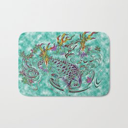 Koi with flaming lotus flowers Bath Mat