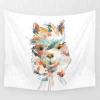 alpaca Wall Tapestries featuring + Watercolor Alpaca + by BANBAN