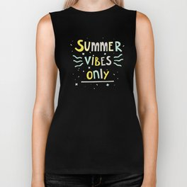 Summer Vibes Only - handlettering quote design in pastel colors palette for T-shirts and other stuff Biker Tank