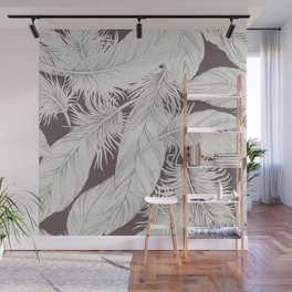 Feathers on brown background Wall Mural