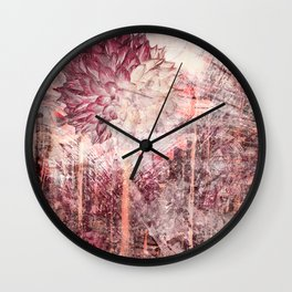 Mauve Grunge Flower Wall Clock