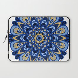 Ocean Blues & Golden Beach Sand Mandala Laptop Sleeve