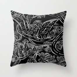 Entangled City Inverted Throw Pillow