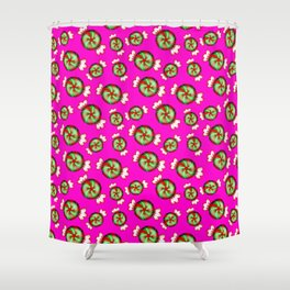 Cute lovely sweet decorative red and green candy pattern on bright pink background. Shower Curtain