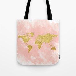 Gold Glitter Map, Nursery Art, Pink Gold, Pastels Tote Bag