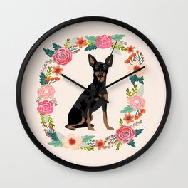 miniature pinscher floral wreath dog breed pet portrait pure breed dog lovers Wall Clock