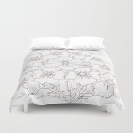 Floral Abstract Sketch Duvet Cover