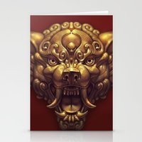 foo fighters Stationery Cards featuring Foo Wolf Red by Ilse Gort