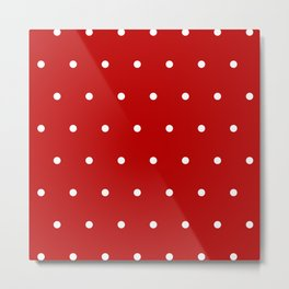 Red and White Polka Dots Pattern Metal Print