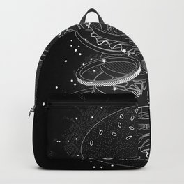 Burger Design made of white contours and stars Backpack